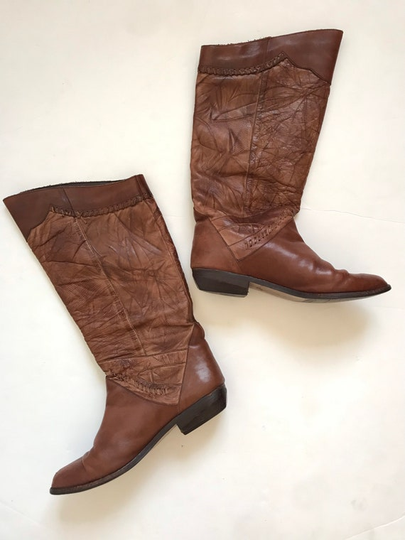 Vintage women's boots, leather tall boots, 1970's… - image 3