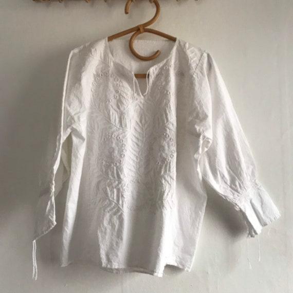 Vintage embroidered blouse, white cotton blouse, m