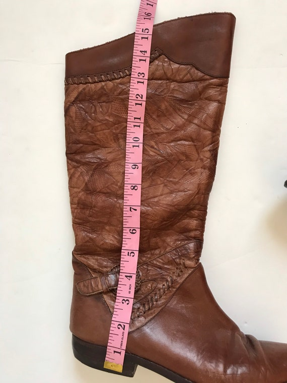 Vintage women's boots, leather tall boots, 1970's… - image 10