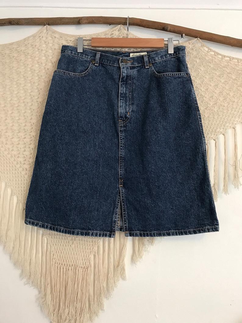 996f85375f Vintage Eddie Bauer midi A Line denim skirt size 12 folkie   Etsy