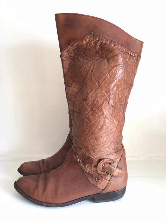 Vintage women's boots, leather tall boots, 1970's… - image 4