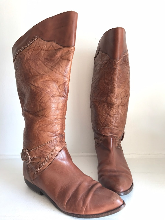 Vintage women's boots, leather tall boots, 1970's… - image 2