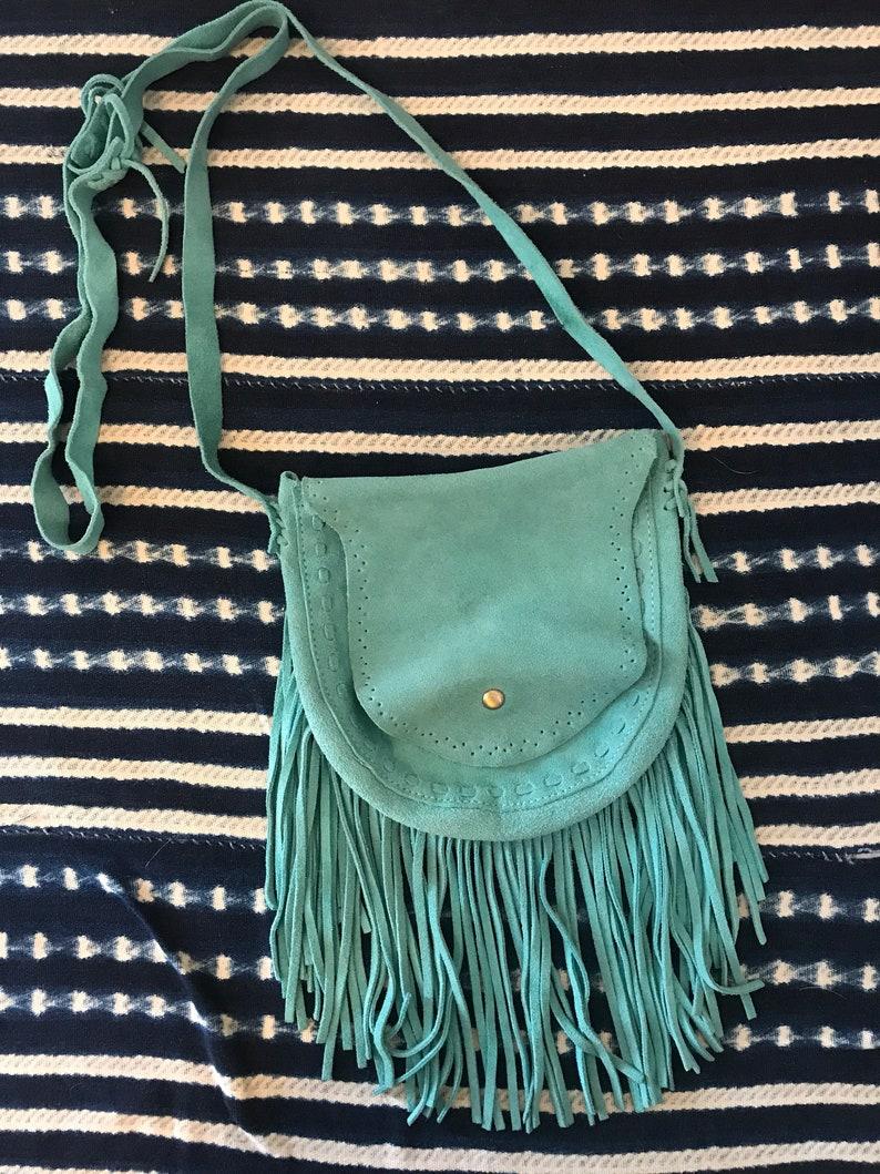 5bcbeab2ddee Vintage suede fringe purse bohemain fringe purse hippie