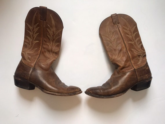 Vintage Nacona Boots mens cowboy boots, size 10, kinfolk, rustic boots, western boots, kings of leon style boots, made in USA, leather boots