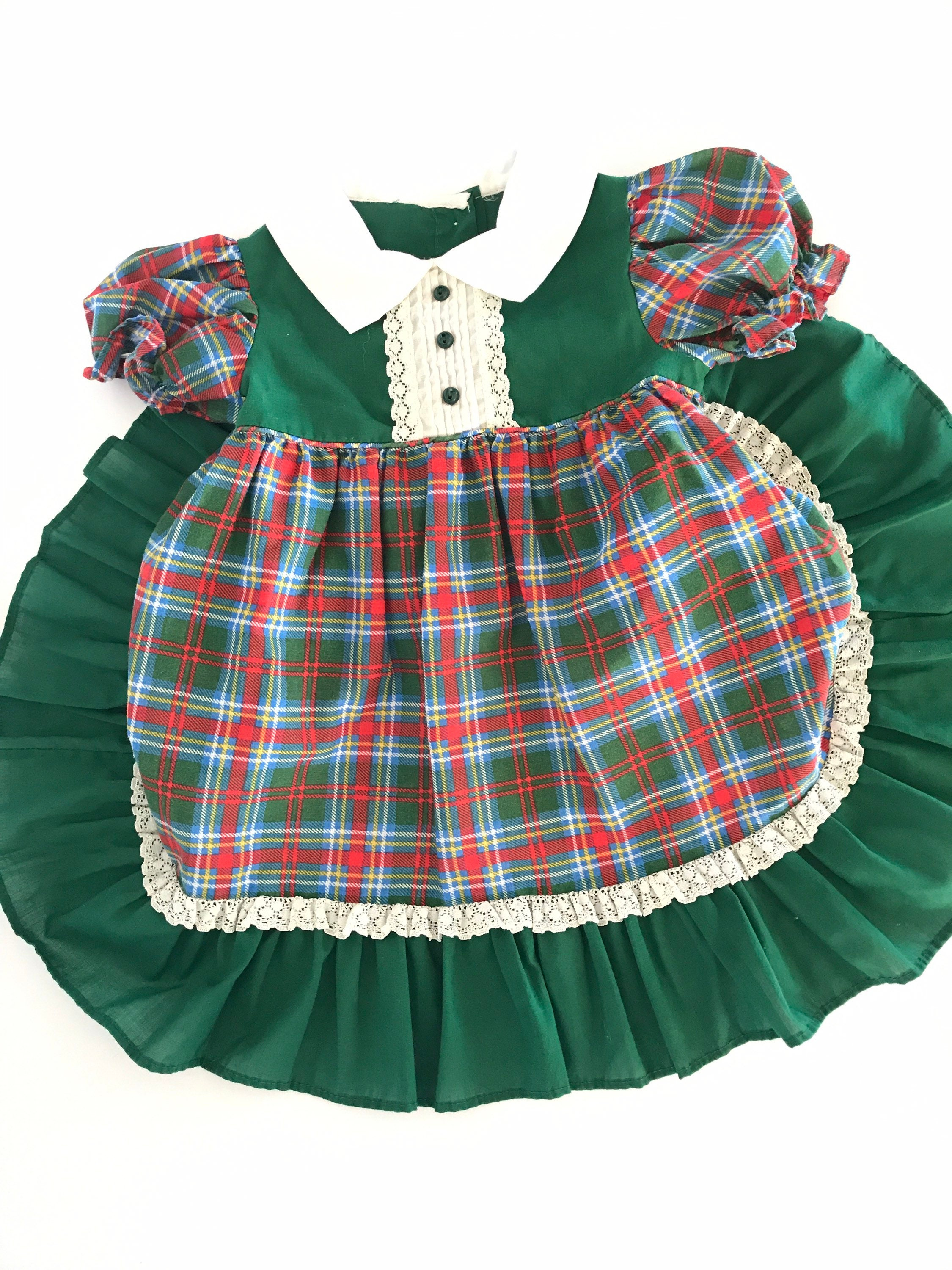 80s Dresses | Casual to Party Dresses Plaid Ruffle Dress, Vintage Toddler Girls Ruffle Dress, Holiday 2T, 1980s, Collar Tartan, Retro Baby Pageant $0.00 AT vintagedancer.com