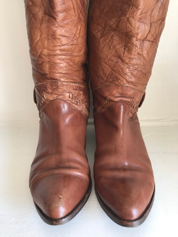 Vintage women's boots, leather tall boots, 1970's… - image 6
