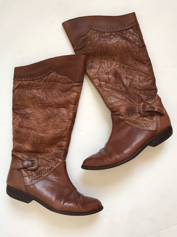 Vintage women's boots, leather tall boots, 1970's,