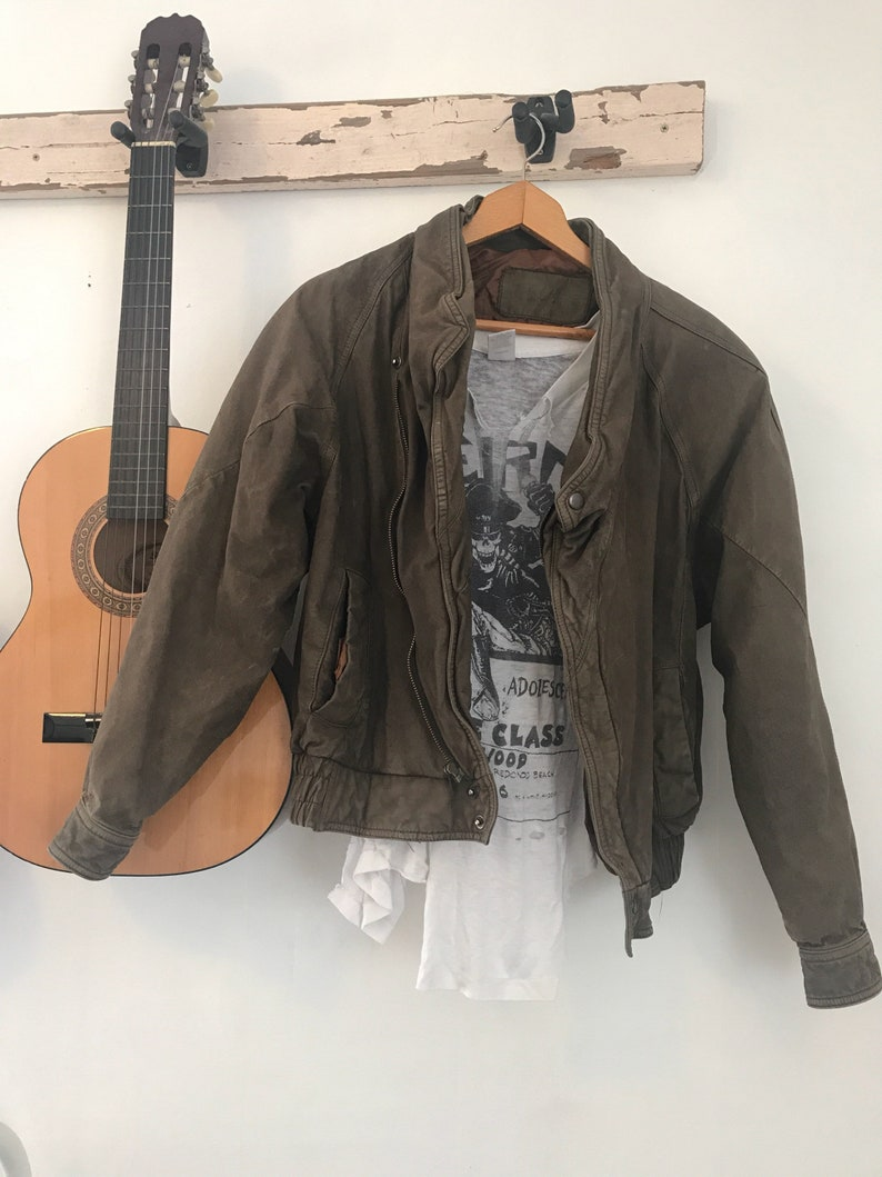 84f1716aa Vintage mens leather bomber jacket, faded, yeezy style, rock and roll  vintage leather pilot jacket, size large, vintage leather biker jacket