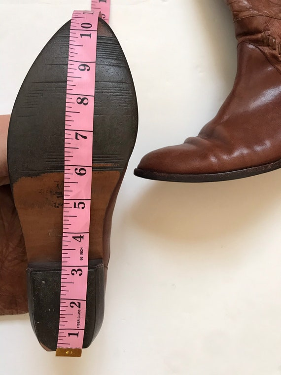 Vintage women's boots, leather tall boots, 1970's… - image 9