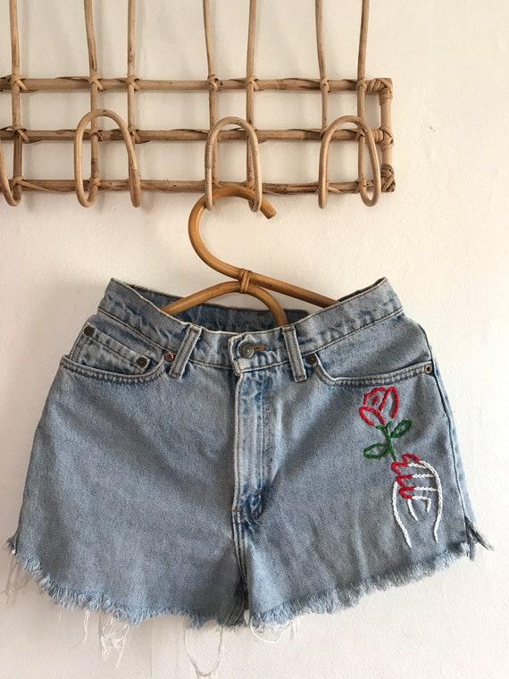 """Vintage Levis jean shorts, 90's Levis, 27"""", high r"""