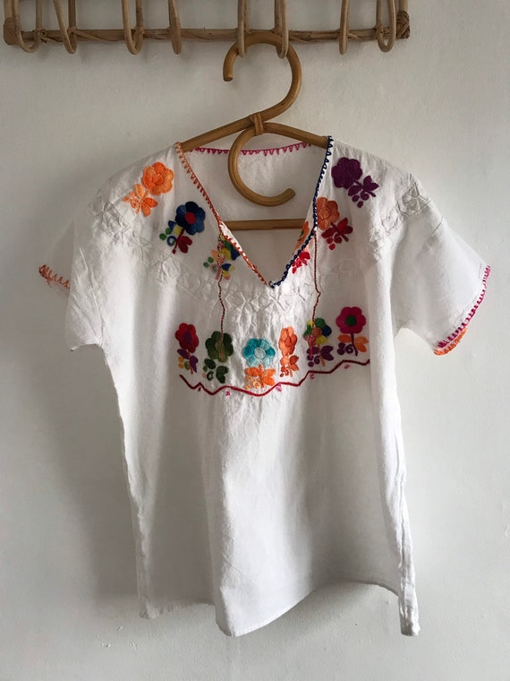 Vintage Mexican embroidered blouse, huipil, 1960's