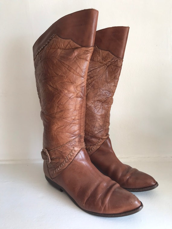 Vintage women's boots, leather tall boots, 1970's… - image 5