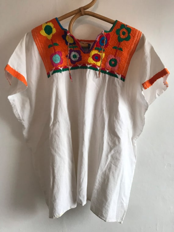 Vintage huipil embroidered blouse, 1960's, 1970's,