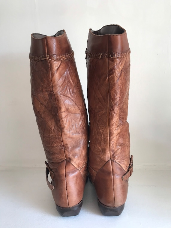 Vintage women's boots, leather tall boots, 1970's… - image 7