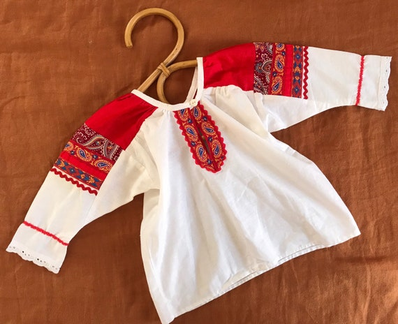 Vintage toddler german blouse, cotton embroidered