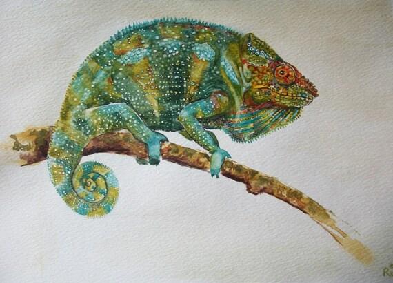 Ähnliche Artikel wie Tiere: Chameleon Aquarell, original Gemälde ...