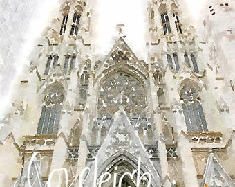 Watercolor St. Patrick's Cathedral Digital Photo