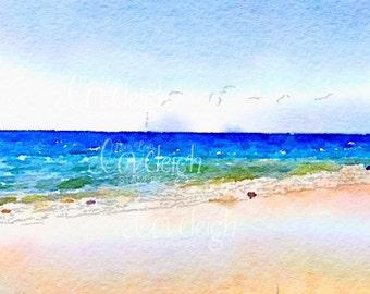 Watercolor Beach Art Digital Photo