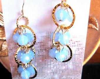 GE406 Opal Sea Triple Wave Earrings