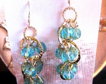 Aquamarine Cathedral Triple Wave Earrings