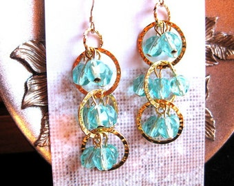 Teal Triple Wave Earrings- Limited Edition