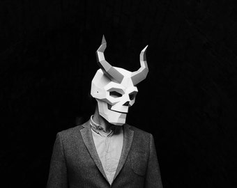 Horned Skull, Demon Paper Mask, LowPoly 3D Papercraft Mask Template, Unique original DIY Halloween Costume, Human Skull, Cosplay PDF Pattern