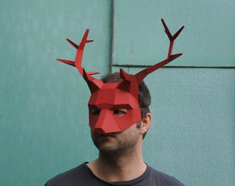 Stag or Reindeer Mask, 3D Papercraft Template, Low Poly Paper Mask, Unique Halloween Costume, Animal Mask, Cosplay PDF Pattern