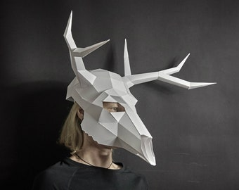 Deer Stag Skull, 3D Papercraft Mask Template, Low Poly Paper Mask, Unique original DIY Halloween Costume, Animal Skull, Cosplay PDF Pattern