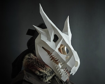 Dragon Skull Papercraft Mask Template, 3D Low Poly Paper Mask, Unique Original DIY Halloween Costume, Targaryen Cosplay PDF Pattern