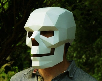 Skull Mask 3D Papercraft Template, Low Poly Paper Mask, Unique Halloween Costume, Cosplay PDF Pattern, DIY Human Skull