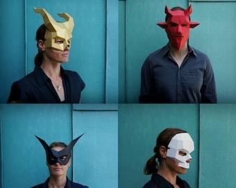 Skull, Bat, Demon, Devil Halloween Papercraft Mask Set, 3D Mask Template, Low Poly Paper Mask, Unique Group Costume, Cosplay PDF Pattern