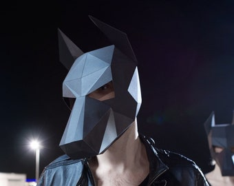 Doberman Papercraft Mask Template, 3D Low Poly Paper Mask, Unique Halloween Costume, Animal Mask, Cosplay PDF Pattern