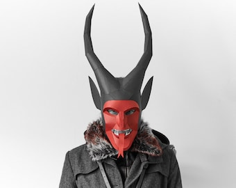 Headgear Mask Imp with Black Devil Horns Pattern Red NEW LEGO  Minifig