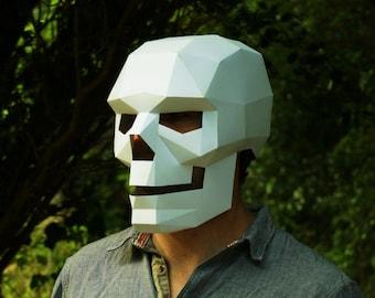3d deer skull paper craft halloween mask template etsy