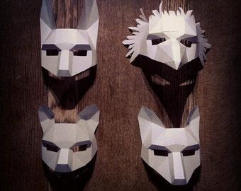 WOODLAND ANIMAL mask set. Papercraft masks.