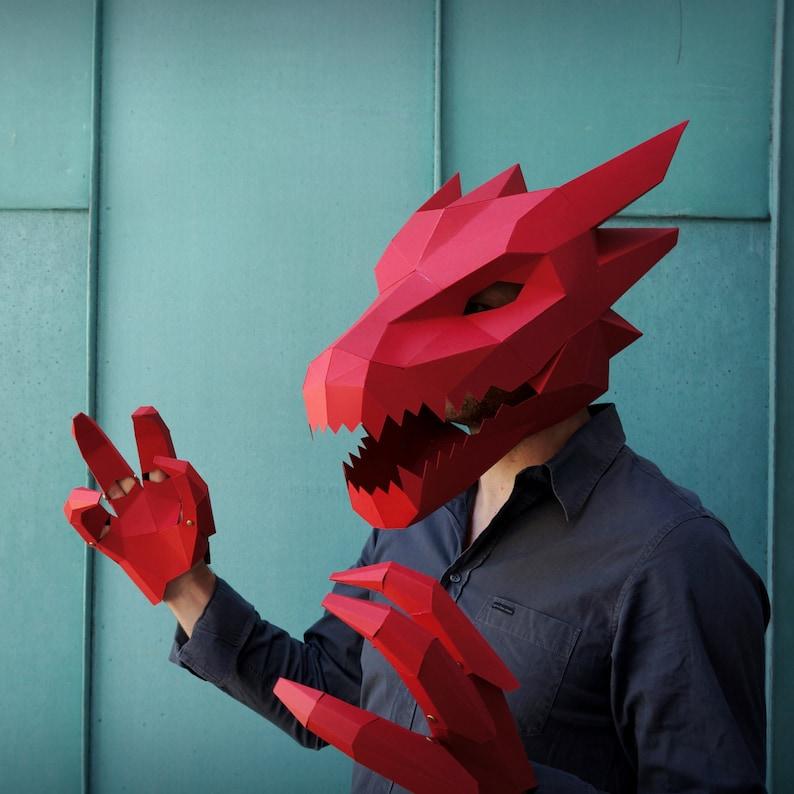 Dragon Mask V2 Papercraft Mask Template image 0