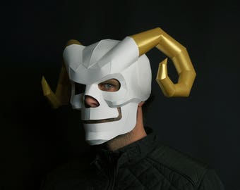 Horned Skull Papercraft Mask Template, 3D Paper Mask, Unique Homemade DIY Halloween Costume, Cosplay PDF Pattern