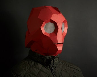 SciFi Papercraft Robot Helmet, 3D Papercraft Mask Template, Low Poly Paper Mask, Unique Homemade DIY Halloween Costume, Cosplay PDF Pattern
