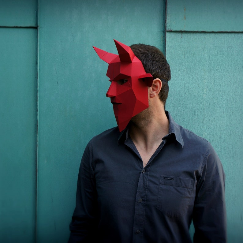 make your own Horned Demon Mask from recycled card Devil Mask