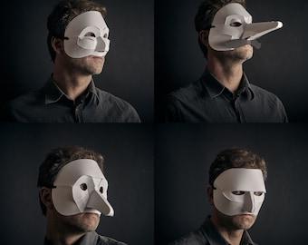 Commedia Dell' Arte Mask Set, 3D Papercraft Mask Template, Italian Theatrical Paper Mask, Unique Halloween Costume, PDF Pattern