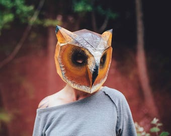 Owl 3D Papercraft Mask Template, Low Poly Paper Mask, Unique Halloween Costume, Animal Mask, PDF Pattern