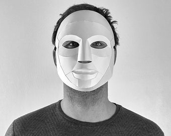 Neutral Mask, 3D Papercraft Mask Template, Theatrical Paper Mask, Unique Halloween Costume, PDF Pattern