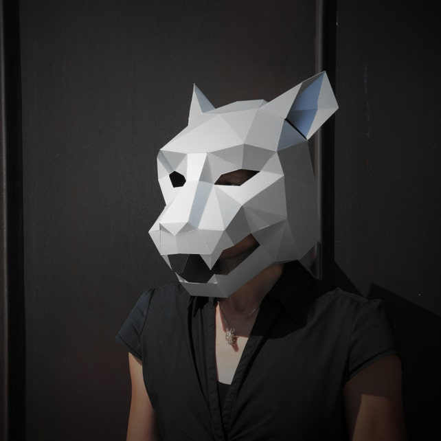 jaguar mask build your own from card using our polygon mask etsy