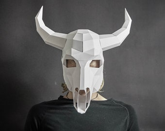 Bull Skull 3D Papercraft Mask Template, Low Poly Paper Mask, Unique Halloween Costume, Animal Mask, Cosplay PDF Pattern