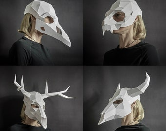 Papercraft Animal Skull Mask Set, Crow, Cat, Bull, Stag, Low Poly Paper Mask, Unique Halloween Costume, Animal Mask, Cosplay PDF Pattern