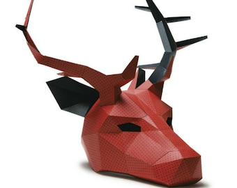 Stag or Reindeer, 3D Papercraft Mask Template, Low Poly Paper Mask, Unique Halloween Costume, Animal Mask, Cosplay PDF Pattern