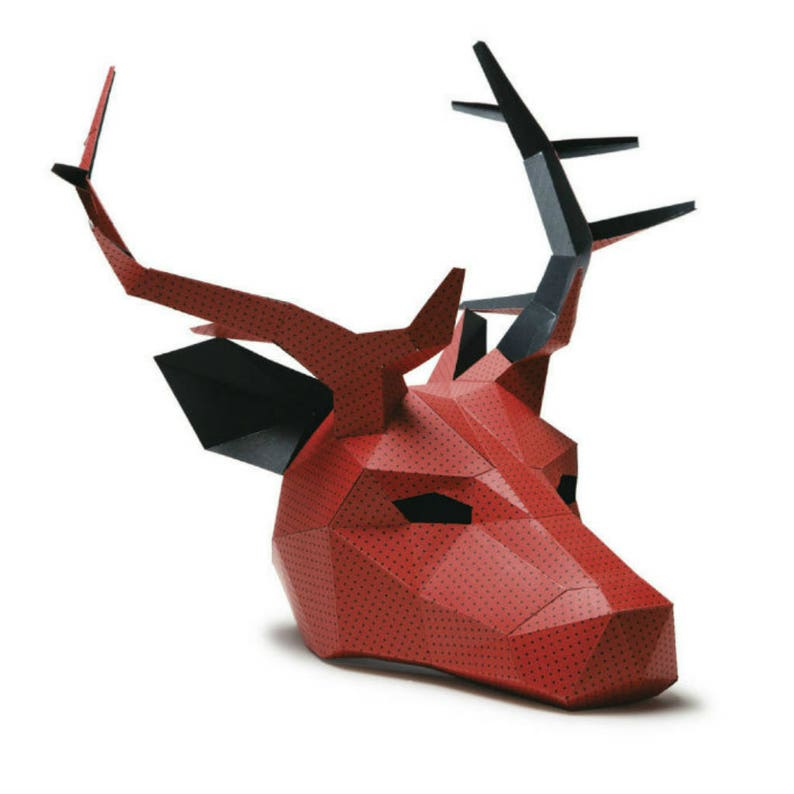 Stag or Reindeer Papercraft Mask Template image 0