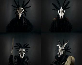 Animal Skull Headdress Papercraft Mask Templates, Unique Halloween Group or Family Costume, Bird, Bull, Wolf, Goat Animal Skulls, Cosplay