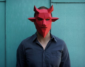 Devil 3D Papercraft Mask Template, Low Poly Demon Paper Mask, Unique DIY Halloween Costume, Cosplay PDF Pattern