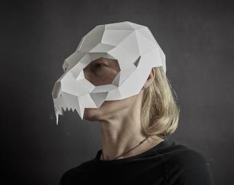 Cat Skull Papercraft Mask Template, 3D Paper Mask, Unique original DIY Halloween Costume, Animal Skull Mask, Cosplay PDF Pattern